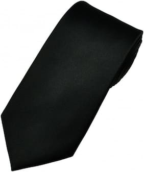 TIE Men Silk Regular Long Tie - Black