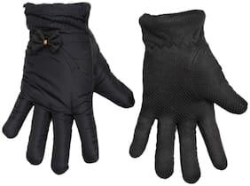 TieKart Women Synthetic Leather Gloves - Black