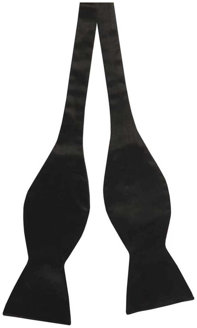 Tiekart Men Black Plain Solids Silk Open Bow Tie by Tiekart