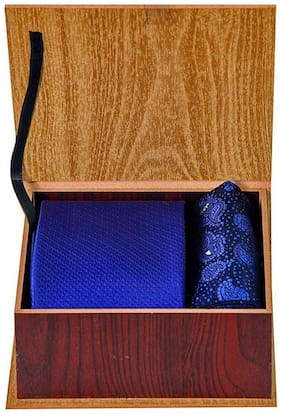 Tiekart Blue Gift Box Combo with Microfiber Tie + Microfiber Pocket Square Ideal for Gifting for Men