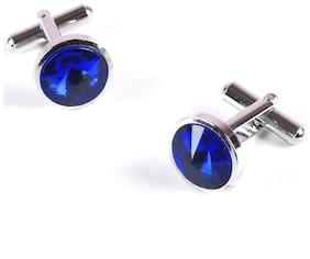 Tiekart-Men Blue Plain Solids  Cufflink