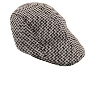 48880c3f985 Tiekart Brown and White Houndstooth Golf Cap With Ear Flaps for Men