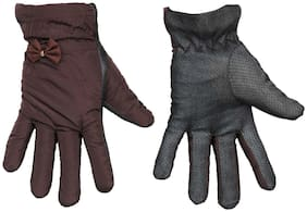 TieKart Women Synthetic Leather Gloves - Brown