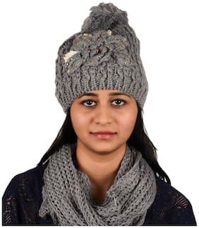 Women Wool Hats;Caps ( Grey )