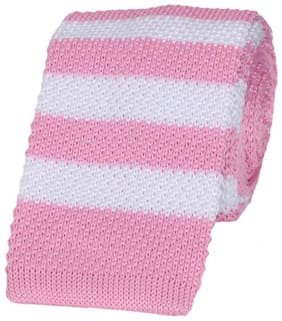 Tiekart-Men Pink Striped  Knitted Skinny Slim Tie