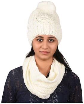 Women Wool Hats;Caps ( White )
