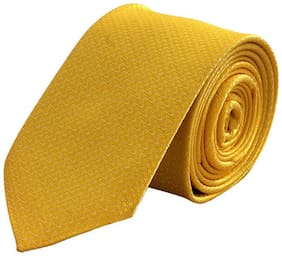 Tiekart-Men Yellow Plain Solids  Skinny Slim Tie