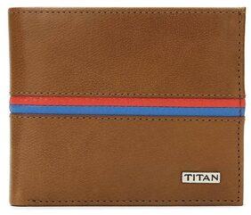 Titan Men Leather Bi-fold Wallet - Brown