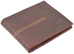 TOFFIL Men Coffee brown Leather Bi-Fold Wallet ( Pack of 1 )