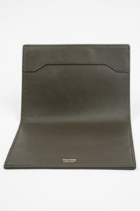 Tom Ford Solid Green Smooth NWT 100% Calf Leather Bifold Wallet Passport Holder