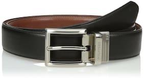Tommy Hilfiger Men's Ribbon Black/Tan Belt With Polished Nickel Buckle Reversibl