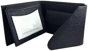 FRIENDS & COMPANY Men Black Leather Tri Fold Wallet ( Pack of 1 )