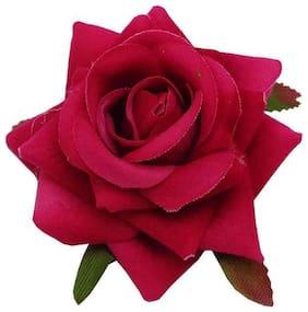 Trendeela.com Feriha Bright Pink Rose Bun Clip For Women