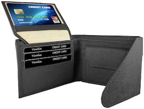 Tri-Fold Formal Plus Casual Black Stylish Wallet for men, Hand Made, Long Lasting Quality, (Model-MW/TF/BL-0003)