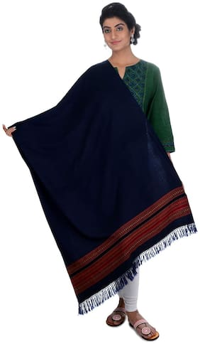 Tribes India Blue Woven Shawl