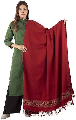Tribes India Women Wool Solid - Red