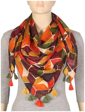 TRUE FASHION GEOMETRIC PRINTED MULTI COLOR PURE SILK WOMENS SCARF 105x105cm