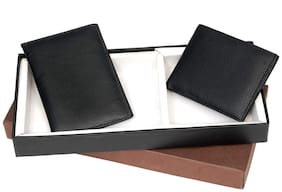 Two in One Black Leatherette Gents Wallet & Card Holder Gift Set| Birthday Gift