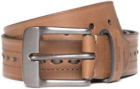U.S. Polo Assn. Men Tan Leather Belt (Size: 32 , Pack of 1 )
