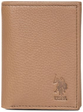 U.S. Polo Assn. Men Brown Leather Tri Fold Wallet ( Pack of 1 )