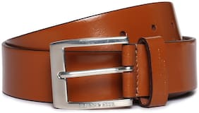 U.S. Polo Assn. Men Tan Leather Belt (Size: 34 , Pack of 1 )