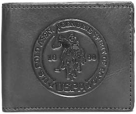 U.S. Polo Assn. Men Black Leather Bi-Fold Wallet ( Pack of 1 )