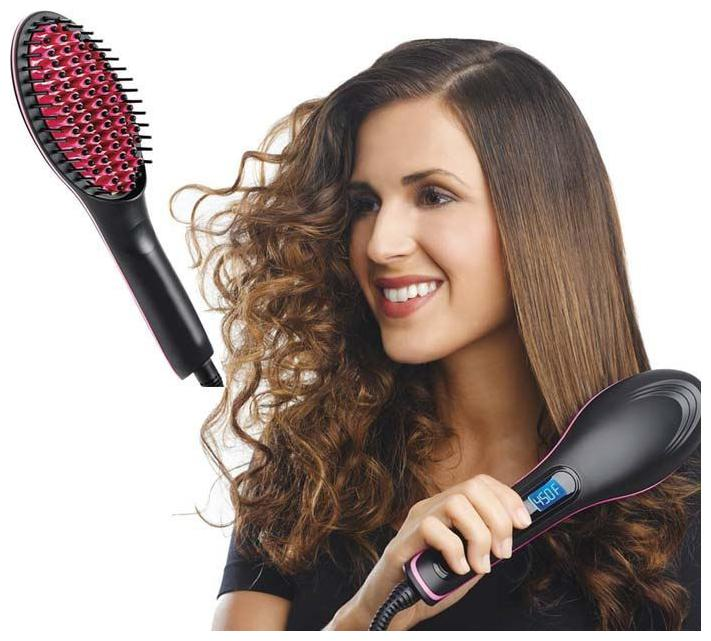 UNIQUE   MULTIPLE USE 2 In 1 Simply Straight Ceramic Hair Straightening Brush Straightening Irons LCD Display Fast Hair Straightener Comb Best Gift