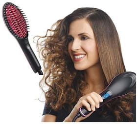 UNIQUE & MULTIPLE USE 2 In 1 Simply Straight Ceramic Hair Straightening Brush Straightening Irons LCD Display Fast Hair Straightener Comb Best Gift