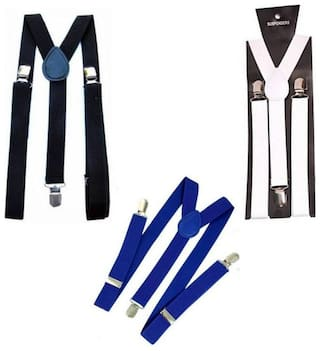 Unisex Suspender For Wedding, Casual or Any Party Pack of 3 (Black,White,Blue)