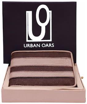 URBAN OARS Men Grey Leather Striped Bi-Fold Wallet