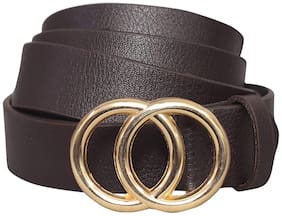 Women Synthetic Leather Belts ( Brown )