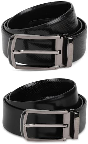 Van Heusen Men Black Leather Belt (Size: 36 , Pack of 1 )