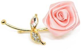 Verceys Handmade Polyester Light Pink Rose Golden Leaf Lapel Men Brooch Boutonniere Tuxedo Pin Suit Wedding Corsage