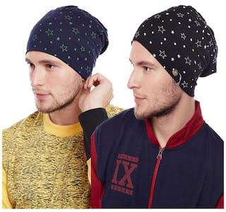c18852a06ef Buy Vimal Multicolor Blended Beanie Cap For Men(Pack Of 2) Online at ...