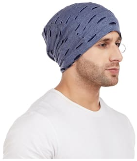 6919b95f4aa Vimal Navy Blue Torn Look Beanie Cap For Men