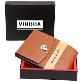 VINISHA ENTERPRISE Men Tan Leather Money Clip Wallet ( Pack of 1 )