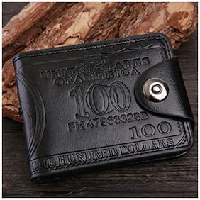 Vintage Dollar Pattern Style Short Wallet Business and Casual PU Leather Money Bag with Magnetic Buckle