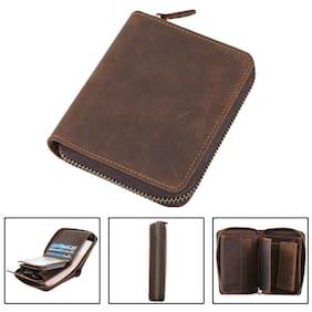 Vintage Men Leather Bifold Wallet Cowboy Zipper Closure Purse Card Coin Holder
