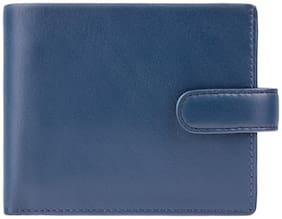 Visconti Leonardo Bi-Fold Blue & Mustard Genuine Leather Men's Wallet With RFID