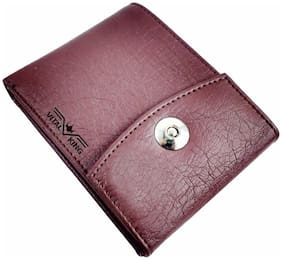 Vital King Brown Artificial Leather Magnet Button Wallet