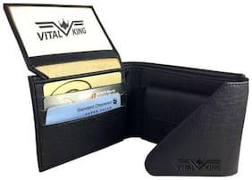 Vital King Men Black Genuine Artificial Leather Short Wallet  (5 Card Slots)