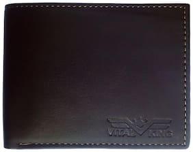 Vital King Men's Black, Brown Genuine Leather Wallet (5 card slots)