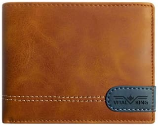 VITAL KING Men Tan Genuine Artificial Leather Wallet (7 card slots)