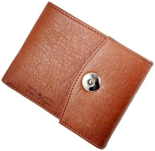 Vital King Tan Artificial Leather Magnet Button Wallet