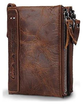 Vogard Brown Double Zipper wallet