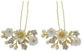 Vogue Hair Accessories Golden White Shell Flowers With Pearls Hair Accessories Bun Pins Juda Pins Hair Clip