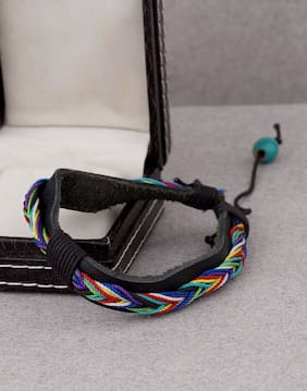 Dare by Voylla black pu leather band bracelet with twisted multicoloured thread designing