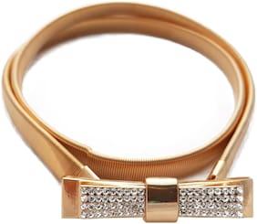 Women PU Belts ( Gold )