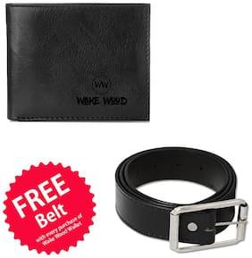 Wake Wood Black Wallet with Free Belt