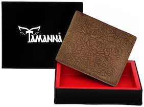 WalletLee  Men Tan Genuine Leather Wallet  (8 Card Slots)